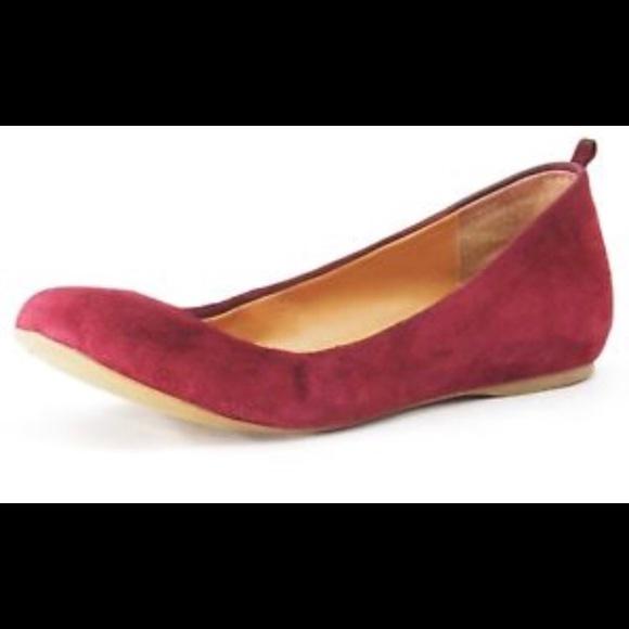 301b39981 J. Crew Factory Shoes | Jcrew Cece Burgundy Suede Ballet Flats ...